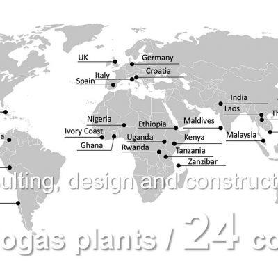 Weltkarte mit Biogasanlagen